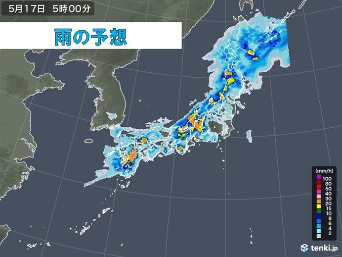 強雨エリアは東海や北陸に拡大