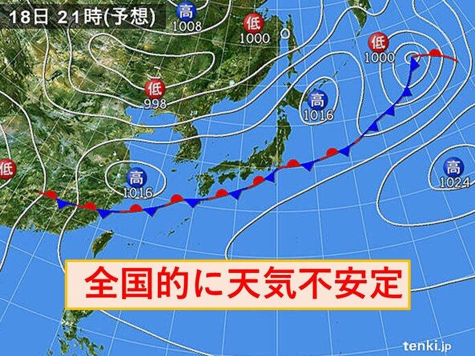 18日 曇りや雨の所が多く 天気不安定