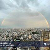 夕日が差した 東京都心 東の空に 虹かかる