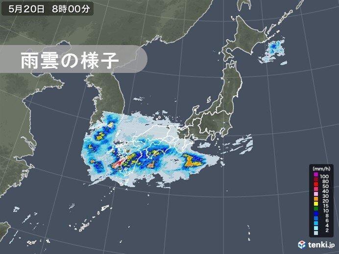19日~20日 九州を前線が北上 九州で50ミリ以上の非常に激しい雨