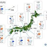 24日 関東や東北など気温上昇 真夏日に迫る所も 九州~東海は梅雨空戻る