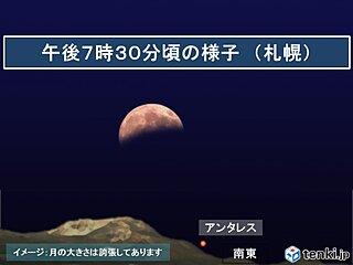 北海道 広く観察チャンス! 月が欠けたまま昇る月食