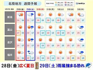 北陸 あす28日は広く夏日 29日は雨風強まる恐れ 梅雨入りはいつ?
