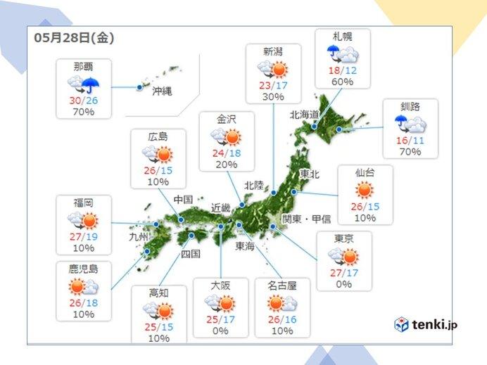 きょうの天気 関東から九州 五月晴れ