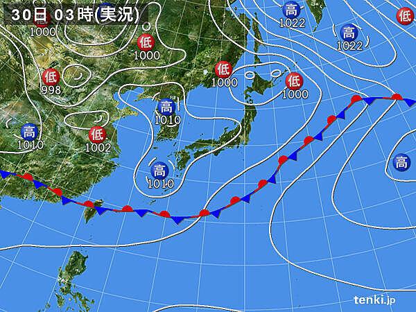 各地の天気 北と南ほど雨雲が湧きやすい