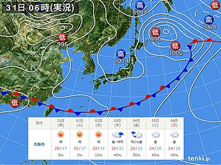 関西 水曜日までは晴れて真夏日の所も 次の雨は木曜日
