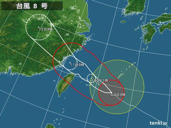 台風8号 宮古島が暴風域に入りました