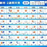 2週間天気 3日~4日は大雨の恐れ 関東甲信も梅雨入りか 雨のあと30℃予想も