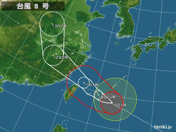 台風8号接近 沖縄は急激に荒れる 猛烈な風と雨