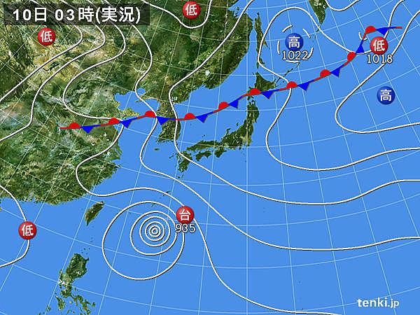 10日 沖縄に台風 九州から関東は急な雨