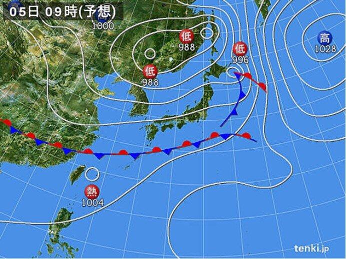 広く晴れるが 沖縄や九州南部で雨