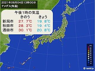 午後も気温は上がらず 東北や北陸では真夏日から一転、風がヒンヤリ