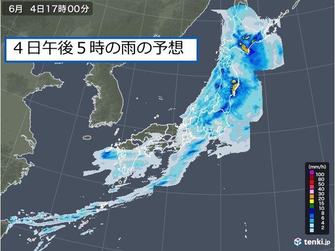 東北や北海道では今夜にかけて所々で「激しい雨」や「雷雨」