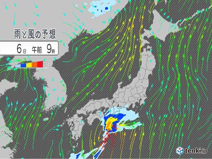 6日午前 西日本で強雨注意