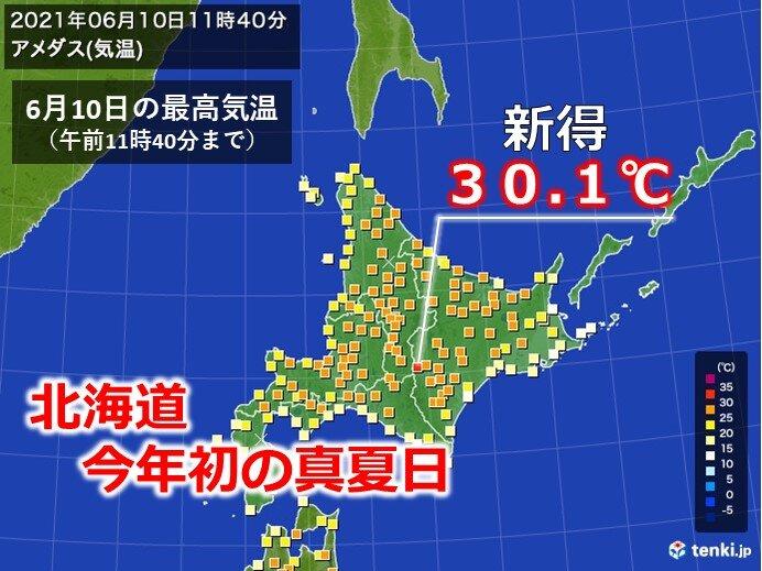 北海道で今年初の真夏日! 11日はさらに暑く!?