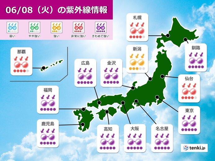 8日 全国的に晴れて真夏の暑さ 関東などで天気豹変_画像