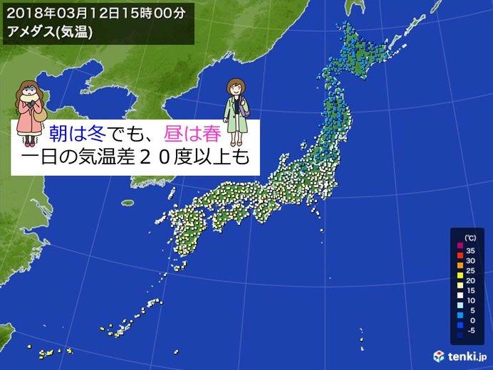 西日本で一日の気温差大 20度以上も