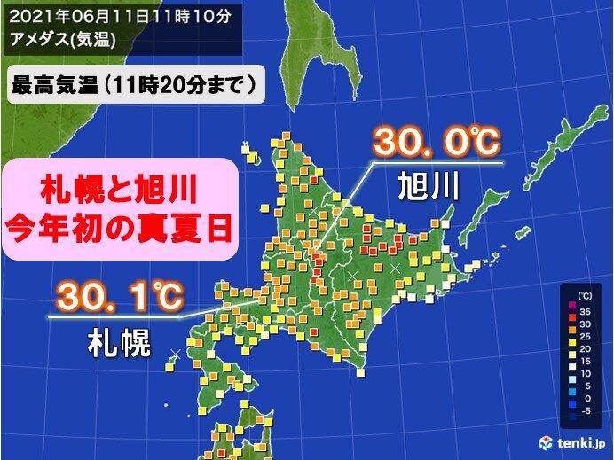 札幌と旭川で今年初の真夏日 真夏のような厳しい暑さの所も 熱中症に警戒を