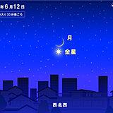 12日(土)日没ごろ 細い月と金星が大接近 雲の隙間から見られるかも