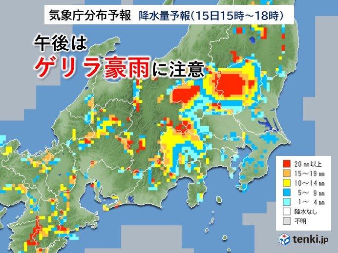 関東甲信 午後は天気急変 ゲリラ豪雨に注意