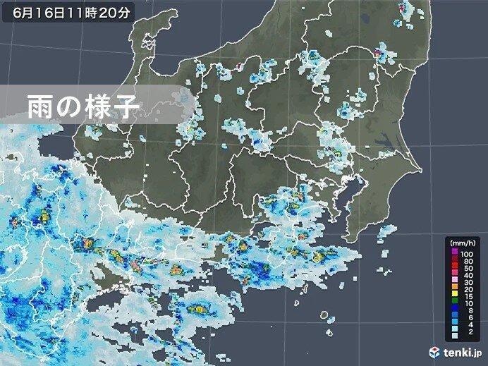 関東甲信 練馬や箱根で1時間に30ミリ以上の激しい雨 夜遅くにかけて大雨の恐れ