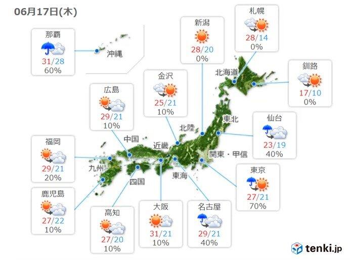 17日 晴れ間が出ても午後は空模様の変化に注意 局地的に激しい雨や雷雨も