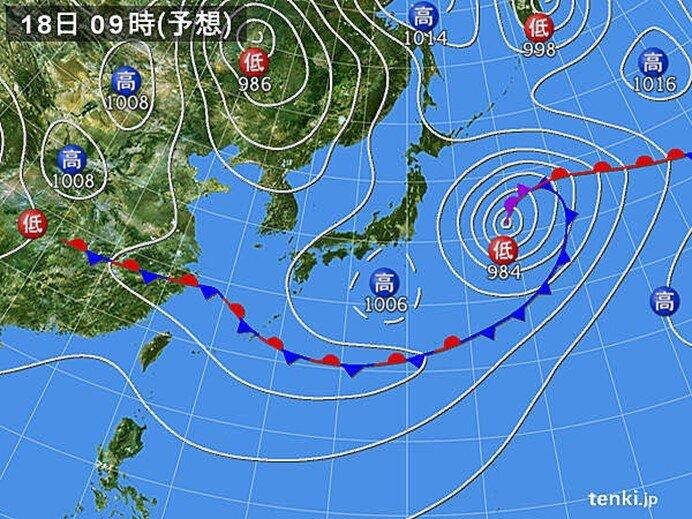 18日 西日本から雨のエリア広がる