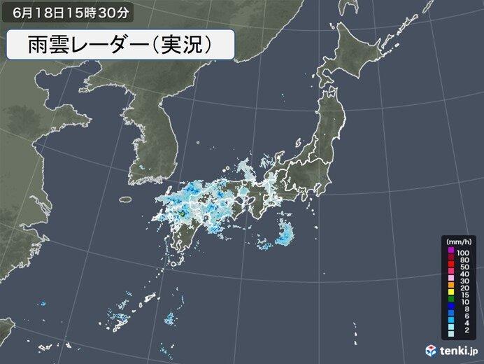 九州から近畿に雨雲かかる ザーザー降りの所も 今夜は東海、北陸も雨具が必要に