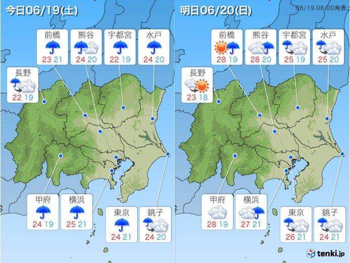 関東 土曜は傘の手放せない一日に 日曜は夏日の所が多くなる