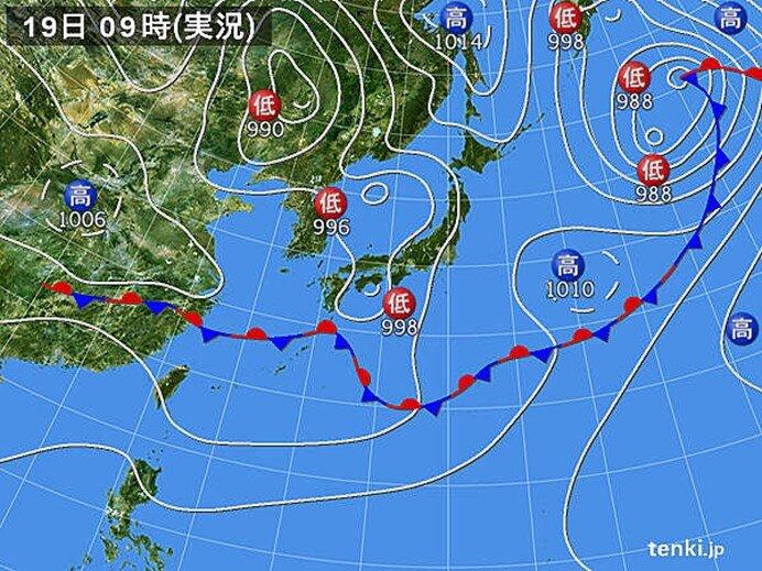 近畿~東北を中心に雨 明け方は東海で激しい雨を観測