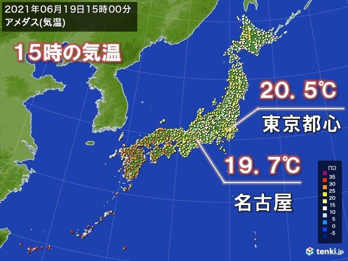 雨で気温上がらず 名古屋では朝9時以降20℃未満で経過