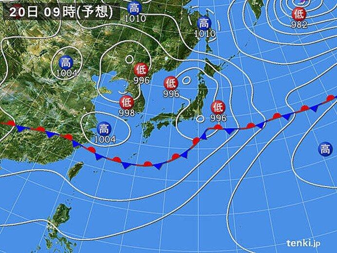 あす20日(日) 広く天気回復