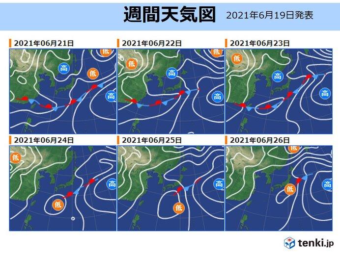 6月21日月曜~27日日曜 梅雨前線が徐々に北上