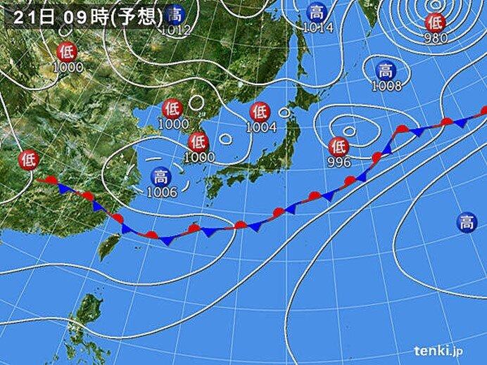 21日 北日本の上空にこの時期としては冷たい空気 北海道は雷雨