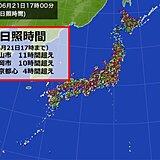夏至の日照時間 東京都心は10年ぶり4時間超え