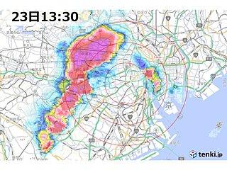 東京都内で雨雲が急発達中
