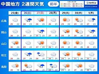 中国地方の2週間天気 前半は徐々に梅雨らしい日が 後半は梅雨空の日が多く