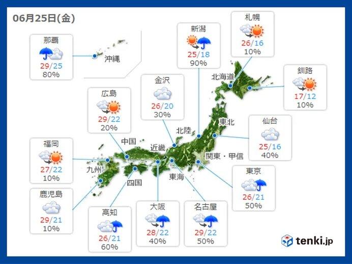 25日金曜 天気の急変に注意