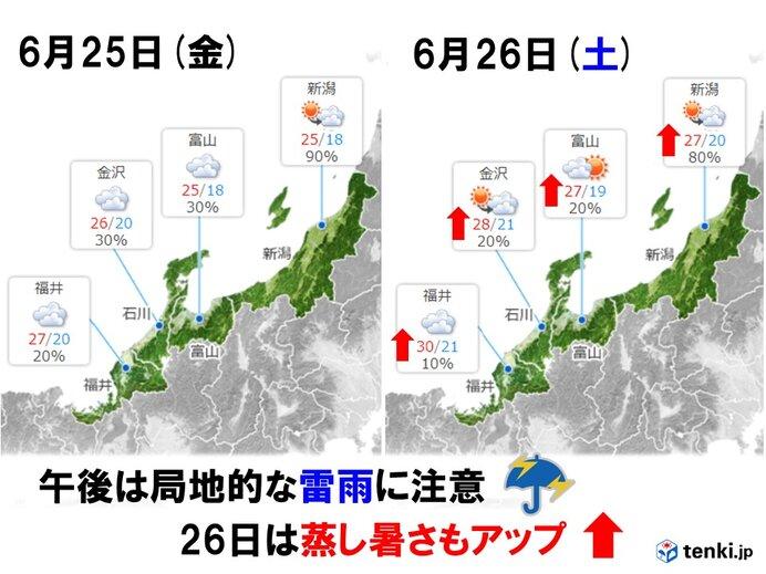 週末26日(土)まで不安定 雷雨プラス蒸し暑さもアップ!