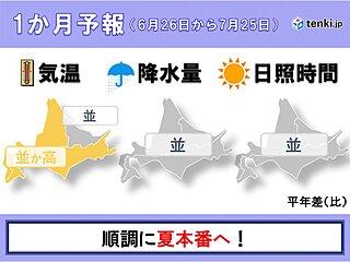 北海道の1か月予報 順調に夏本番へ