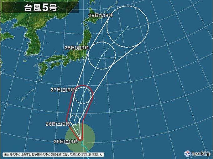 あさって27日に「強い」勢力で小笠原諸島に接近