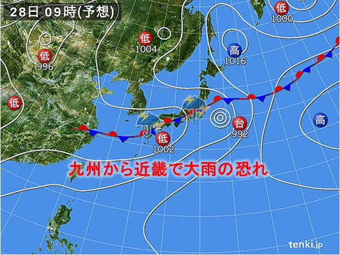 あす26日(土)から28日(月) 梅雨前線が本州付近まで北上 大雨になる恐れも_画像