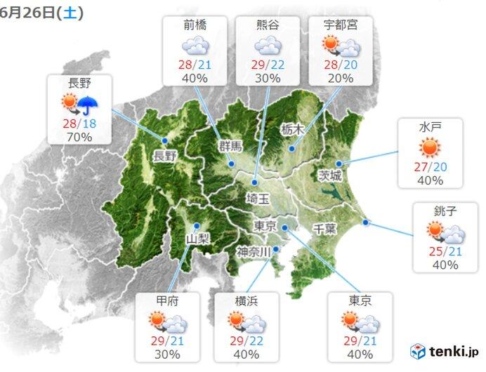 26日の関東 気温上昇 真夏日も 局地的に雷雲発達 台風5号の影響が小笠原諸島に