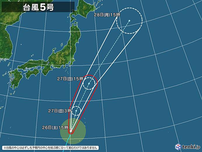台風5号 27日明け方にかけて小笠原諸島に最接近