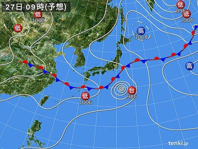 あす27日 関東付近は雨で本降りも 東北北部では局地的に激しい雨
