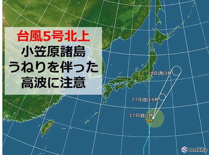 台風5号が北上中 小笠原諸島は高波に注意 本州などへの影響は?