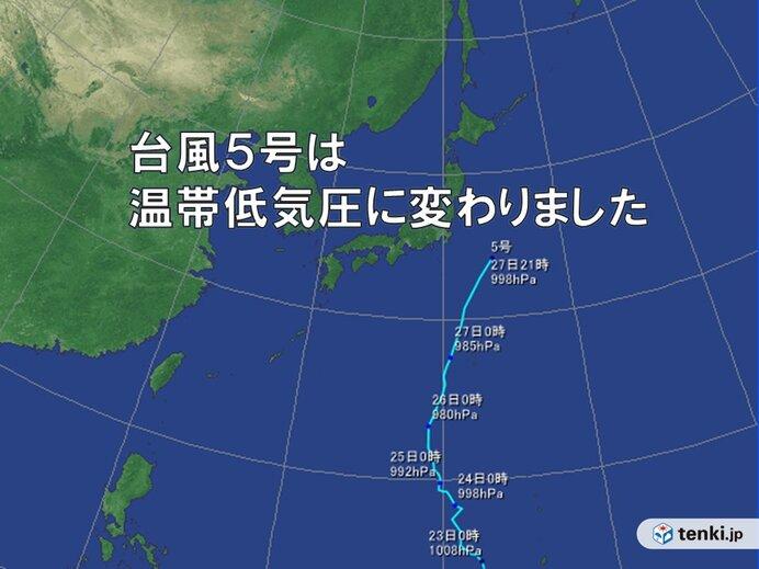 台風5号 温帯低気圧に変わりました