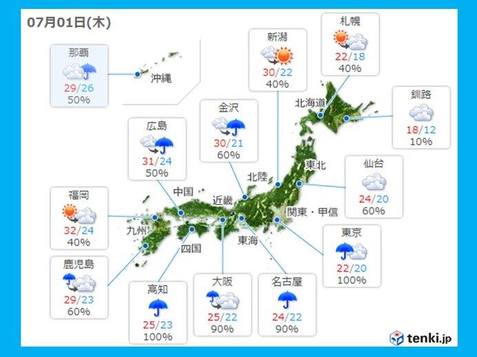 きょうの天気 大雨や雷雨に注意警戒 日本海側中心に晴れ間