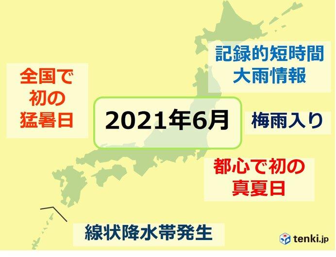 6月は全国初の猛暑日・関東甲信~東北で梅雨入り・線状降水帯発生 7月はどうなる?