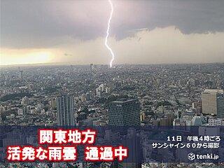 関東地方 活発な雨雲が通過中 都心でも雷雨